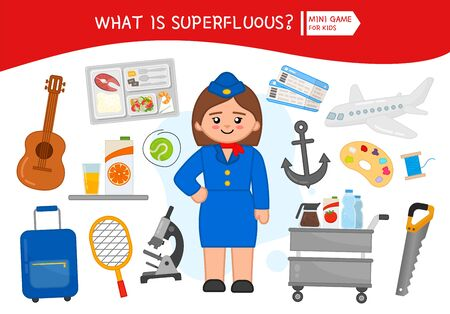 Educational game for children. Cartoon stewardess. Circle the objects that is unnecessary.