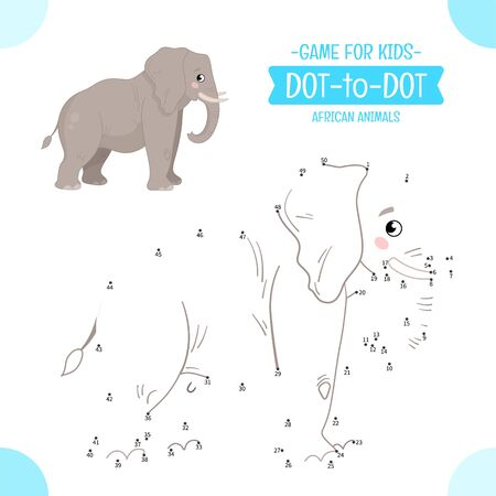 Educational game for kids. Dot to dot game for children. African animals. Cartoon cute  elephant