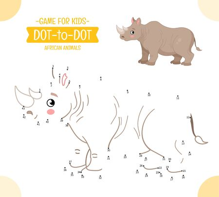 Educational game for kids. Dot to dot game for children. African animals. Cartoon cute  rhinoceros