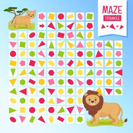 Maze game for children. Help little lion find a mom