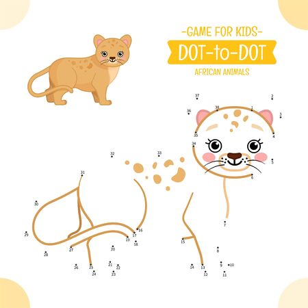 Educational game for kids. Dot to dot game for children. African animals. Cartoon cute lion cub.