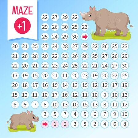 Maze game for children. Help little rhinoceros find a mom