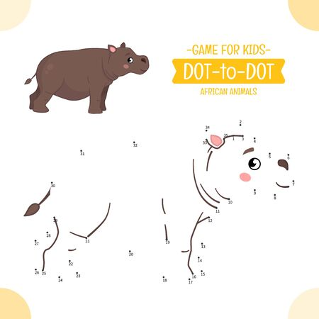 Educational game for kids. Dot to dot game for children. African animals. Cartoon cute  hippo