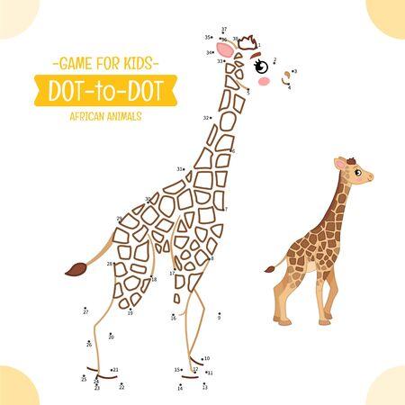 Educational game for kids. Dot to dot game for children. African animals. Cartoon cute  giraffe