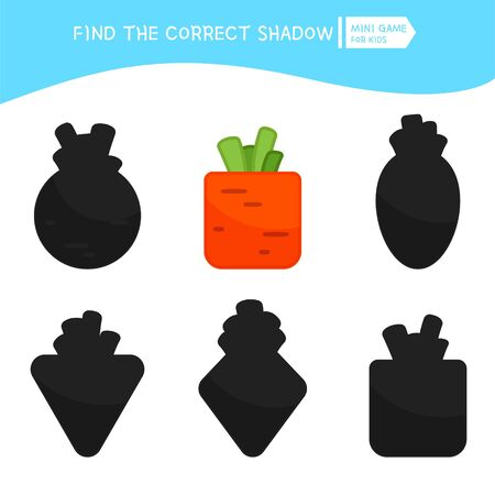 Educational  game for children. Find the right shadow. Kids activity with cartoon carrot.