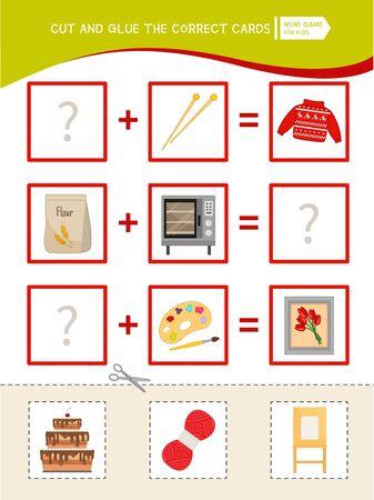 Educational logic game for children. Cut and glue the correct cards. Ilustración de vector