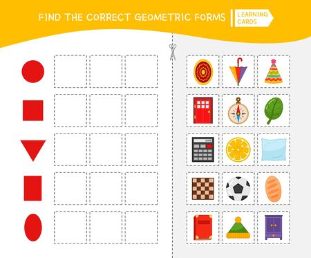 Matching children educational game. Activity for pre sсhool years kids and toddlers. Match of geometric shapes. Illusztráció
