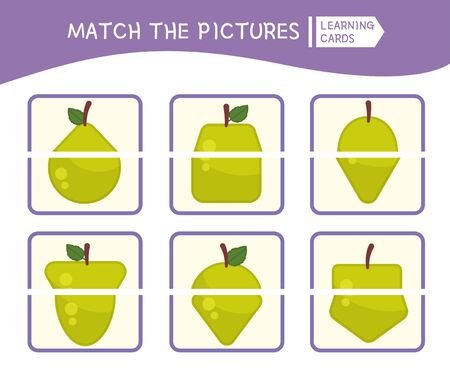 Matching children educational game. Match parts of apples. Activity for pre sсhool years kids and toddlers.