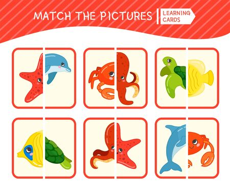 Matching children educational game. Match parts of sea animals. Activity for pre sсhool years kids and toddlers.