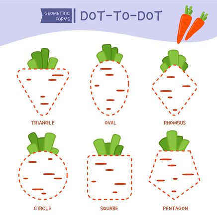 Educational game for kids. Dot to dot game for children. Cartoon carrots of different geometric shapes.