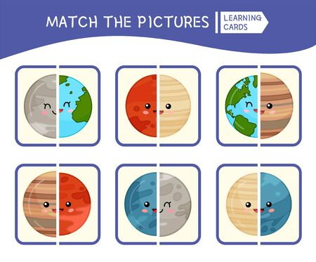 Matching children educational game. Match parts of planets. Activity for pre sсhool years kids and toddlers. Illusztráció