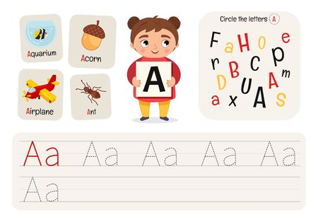 Kids learning material. Worksheet for learning numbers. Letter A.