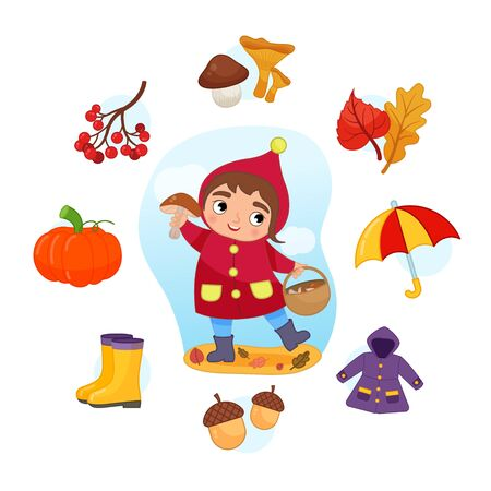 Vector Set signs of Autumn. Collection seasons. Illustration of cute girl picking mushrooms.