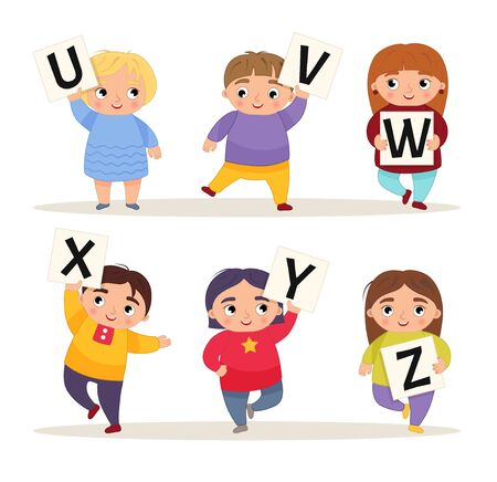 Vector cute kids animal alphabet. Cartoon children are holding signboards. U-Z.