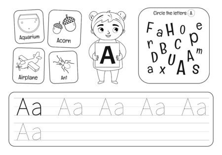 Kids learning material. Worksheet for learning numbers. Letter A. Black and white. Illusztráció