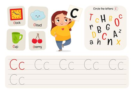 Kids learning material. Worksheet for learning alphabet. Letter C.