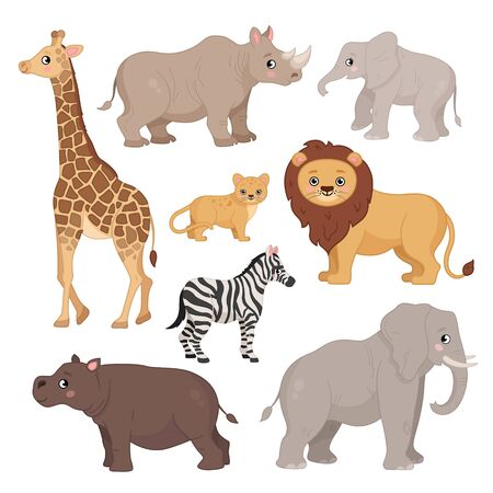 Vector set of cartoon animals of Africa.