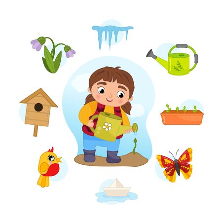 Vector Set signs of Spring. Collection seasons. Illustration of cute girl with a watering can.