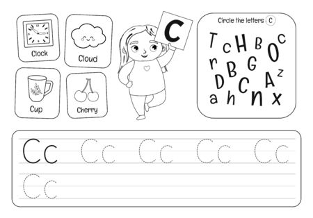Kids learning material. Worksheet for learning alphabet. Letter C. Black and white. Illusztráció