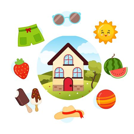 Vector Set Summer. Collection seasons. Illustration of house at different times of the year.