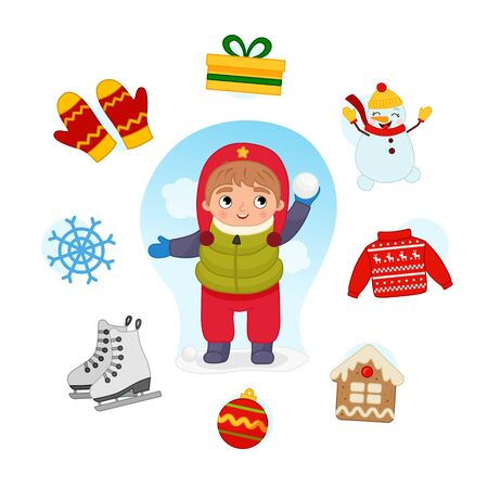 Vector Set signs of Winter. Collection seasons. Illustration of cute boy playing snowballs.