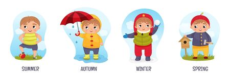 Vector illustration of seasons. Cartoon cute boys.