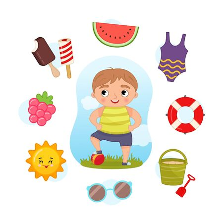 Vector Set signs of Summer. Collection seasons. Illustration of cute boy with ball.