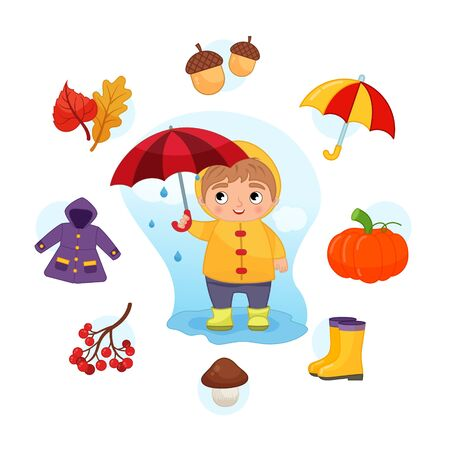 Vector Set signs of Autumn. Collection seasons. Illustration of cute boy with umbrella.