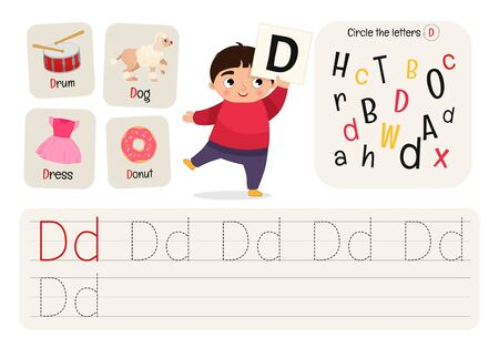 Kids learning material. Worksheet for learning alphabet. Letter D.