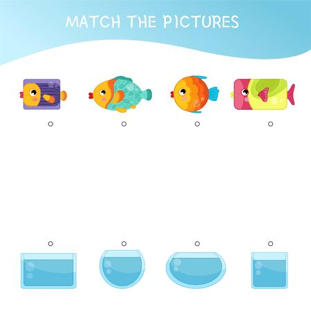 Matching children educational game. Match of  fish and aquariums by forms. Activity for pre s�hool years kids and toddlers.