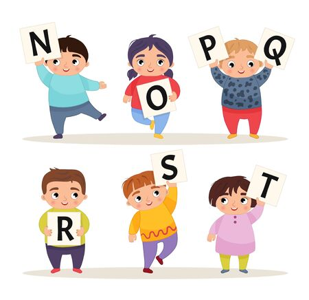 Vector set alphabet. Cartoon children are holding signboards. N-T.