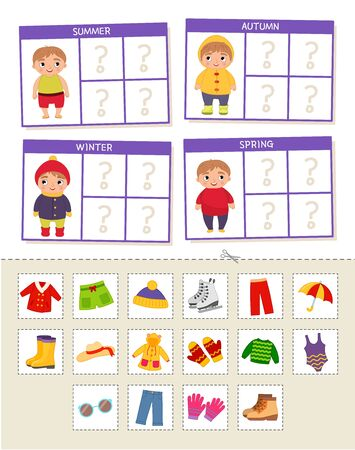 Matching children educational game. Match of  cards by seasons. Activity for pre sÑ�hool years kids and toddlers. Ilustração