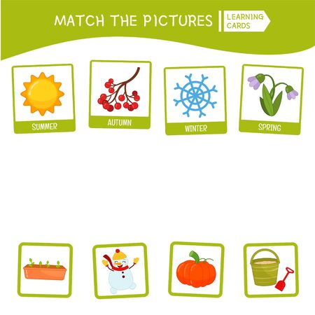 Matching children educational game. Match seasons and objects. Activity for pre sÑ�hool years kids and toddlers. Ilustração