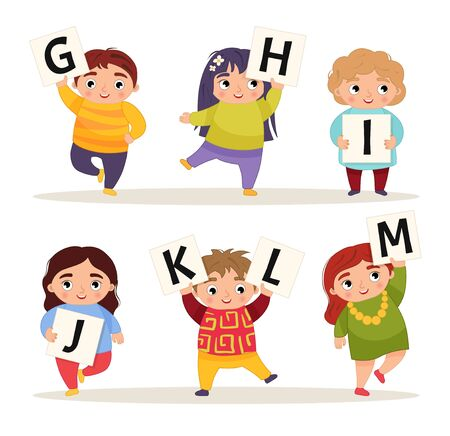 Vector cute kids animal alphabet. Cartoon children are holding signboards. G-M.