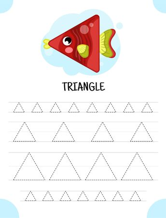 Handwriting practice sheet. Basic writing. Educational game for children.  Geometric forms. Triangle.