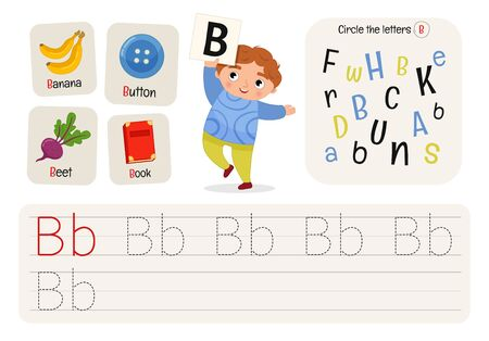 Kids learning material. Worksheet for learning alphabet. Letter B.