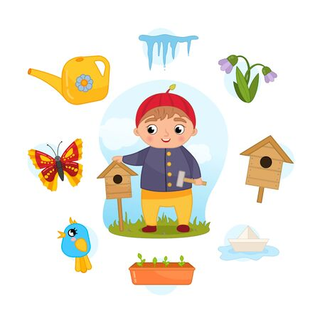Vector Set signs of Spring. Collection seasons. Illustration of cute boy with birdhouse.