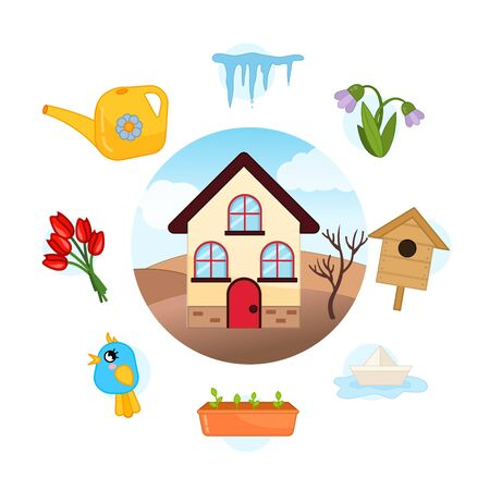 Vector Set Spring. Collection seasons. Illustration of house at different times of the year.