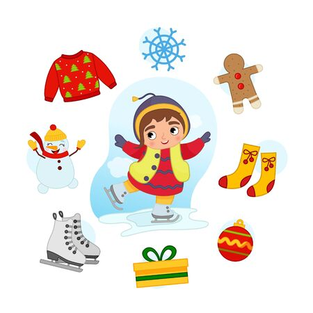Vector Set signs of Winter. Collection seasons. Illustration of cute girl skates.