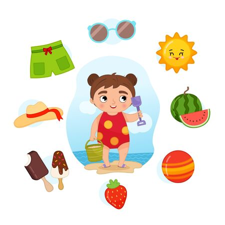 Vector Set signs of Summer. Collection seasons. Illustration of cute girl on the beach.