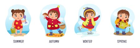 Vector illustration of seasons. Cartoon cute girls.