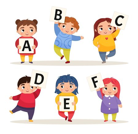 Vector set alphabet. Cartoon children are holding signboards. A-F.