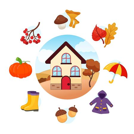 Vector Set Autumn. Collection seasons. Illustration of house at different times of the year.