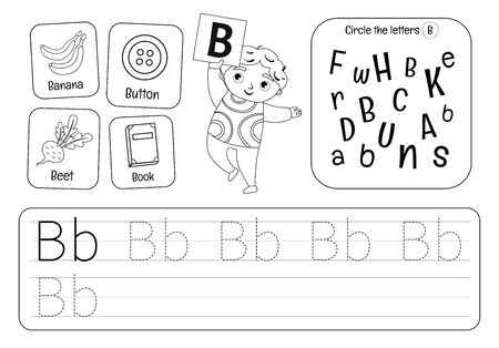 Kids learning material. Worksheet for learning alphabet. Letter B. Black and white. Illusztráció