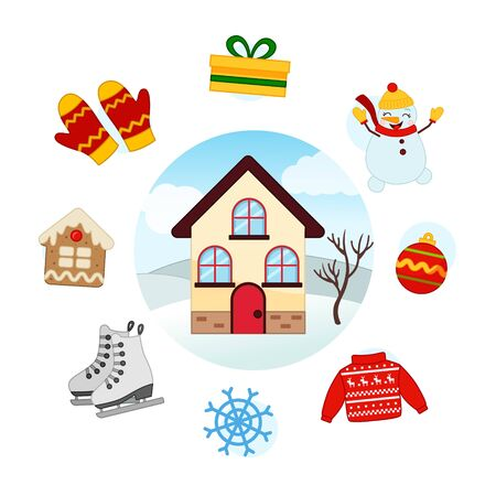 Vector Set Winter. Collection seasons. Illustration of house at different times of the year.