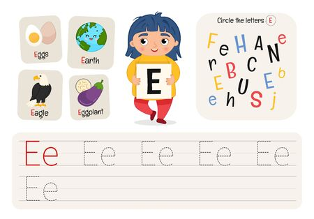 Kids learning material. Worksheet for learning alphabet. Letter E.