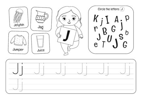Kids learning material. Worksheet for learning alphabet. Letter J. Black and white.