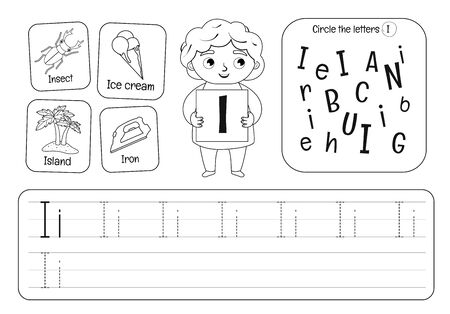 Kids learning material. Worksheet for learning alphabet. Letter I. Black and white.