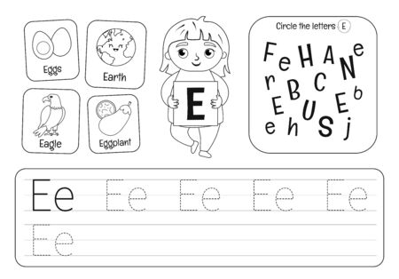 Kids learning material. Worksheet for learning alphabet. Letter E. Black and white.