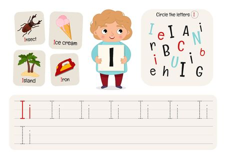 Kids learning material. Worksheet for learning alphabet. Letter I. Illusztráció